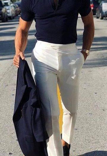 Pantaloni albi barbati